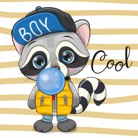 Cute Cartoon Raccoon in a hat with blue bubble gum  イラスト・ベクター素材