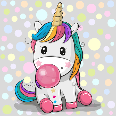 Cute Cartoon Unicorn with a pink bubble gum
