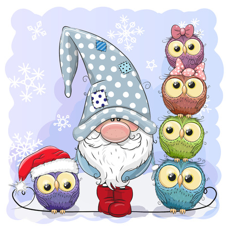 Greeting Christmas card Cute Cartoon Gnome and Owls blue background Vettoriali
