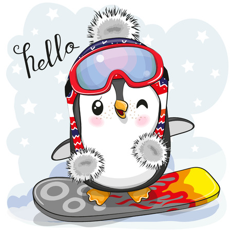 Cute cartoon Penguin on a snowboard on a blue background