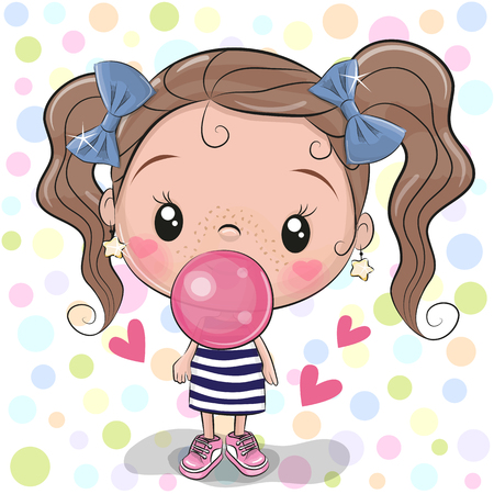 Cute Cartoon Girl with pink bubble gum 向量圖像