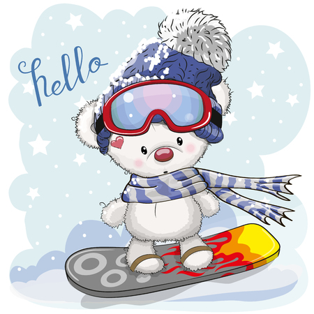 Cute cartoon Bear on a snowboard on a blue background