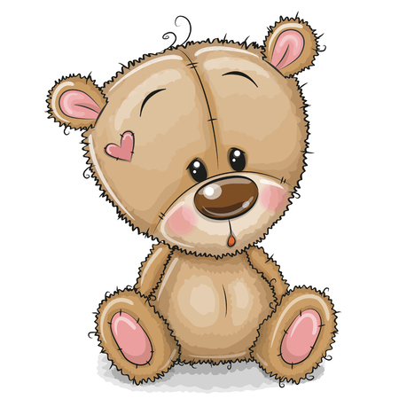 Drawing Teddy bear isolated on a white background Illustration