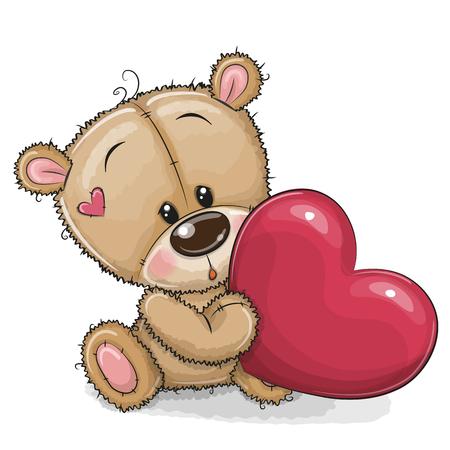 Cute Cartoon Teddy Bear with heart isolated on a white background