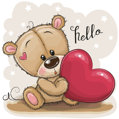 Cute Cartoon Teddy Bear with heart on a gray background