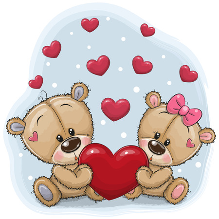 Cute Teddy Bears with heart on a blue background Ilustração