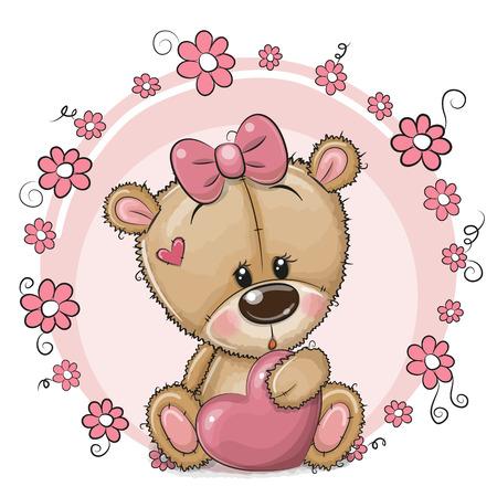 Greeting card Cute cartoon Teddy Bear girl with heart and flowers Çizim