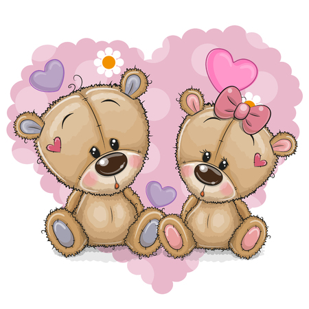 Two Cute Cartoon Bears on a background of heart