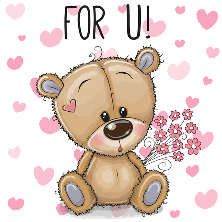 Greeting card Cute Cartoon Teddy Bear with a flowers 向量圖像