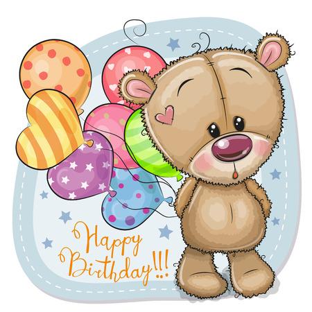 Greeting card Cute Cartoon Teddy Bear with balloons
