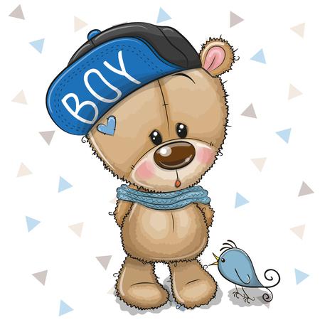 Cute Cartoon Teddy Bear in a cap with bird on a white background Çizim