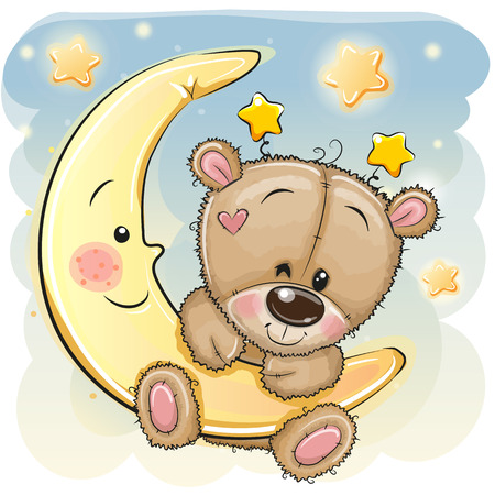 Cute Cartoon brown Teddy Bear on the moon