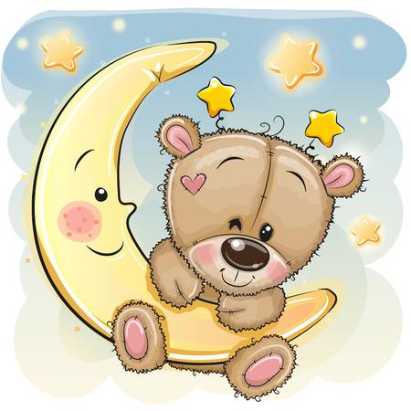 Lindo oso de peluche marrón de dibujos animados en la luna