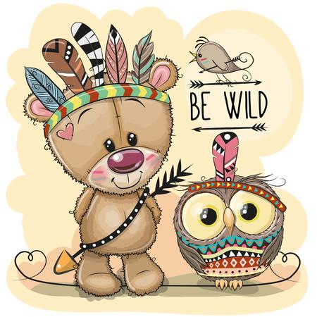 Cute Cartoon tribal Teddy Bear and owl with feathers
