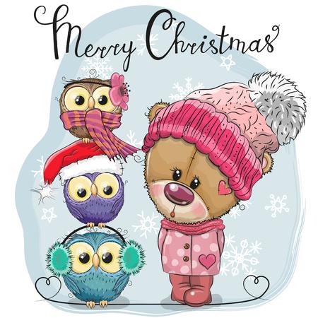 Greeting Christmas card Cute Cartoon Teddy Bear and three Owls