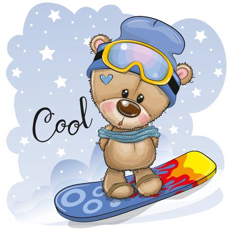 Oso de peluche de dibujos animados lindo en una tabla de snowboard sobre un fondo azul