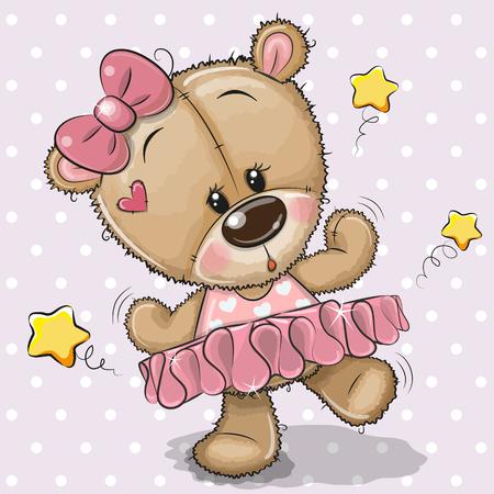 Cute Cartoon Teddy Bear Ballerina on a lilac background