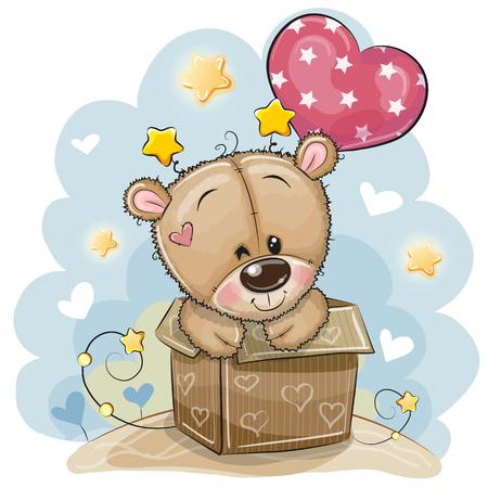 Tarjeta de cumpleaños con un lindo oso de peluche y un globo. Ilustración de vector