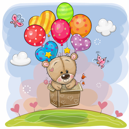 Cute Cartoon Teddy Bear in the box is flying on balloons Çizim