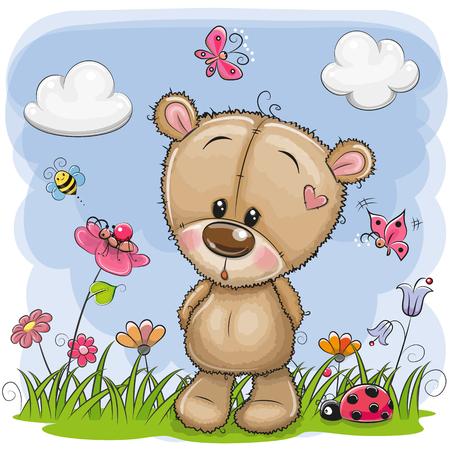 Cute Cartoon Teddy Bear on a meadow with flowers and butterflies Vettoriali