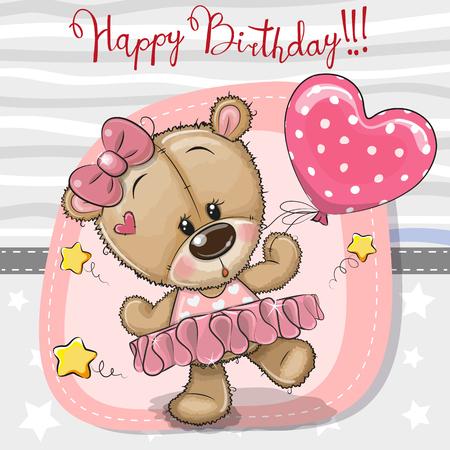 Greeting birthday card Cute Cartoon dancing Teddy Bear girl Çizim