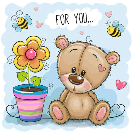 Greeting card Bear with flower on a blue background