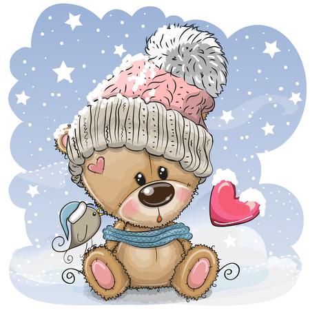 Simpatico orsacchiotto cartone animato con un berretto a maglia si siede su una neve Vettoriali