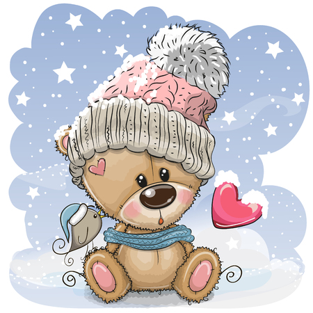 Cute Cartoon Teddy bear in a knitted cap sits on a snow