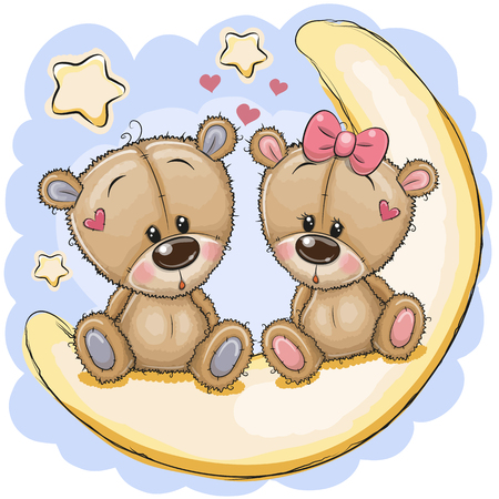 Two Cute cartoon Bears is sitting on the moon