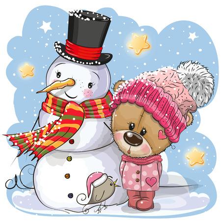 Pupazzo di neve e simpatico orsacchiotto cartone animato ragazza con un cappello