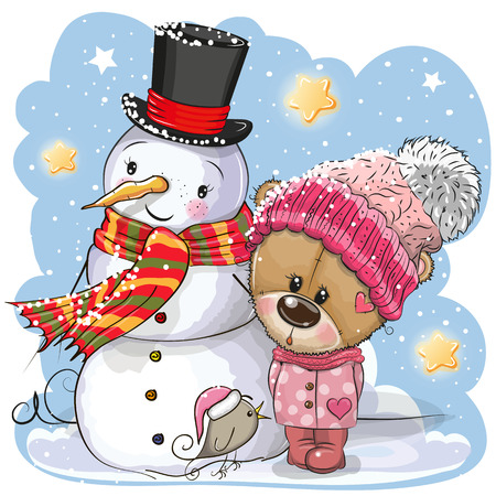 Snowman and Cute Cartoon Teddy Bear girl in a hat
