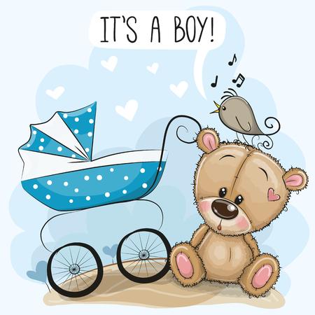 Biglietto di auguri è un ragazzo con carrozzina e orsacchiotto