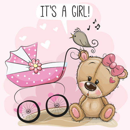Greeting card it is a girl with baby carriage and teddy bear