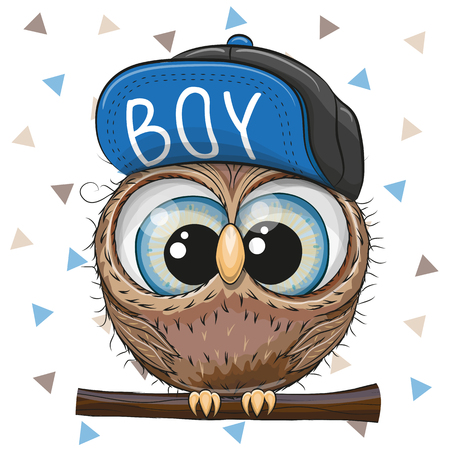 Cute Cartoon Owl in a cap on a white background Ilustracja