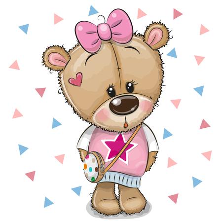 Cute Cartoon Teddy Bear Girl with a bow on a white background