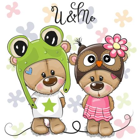 Carte de voeux Cartoon Bears garçon et fille sur fond de fleurs Vecteurs