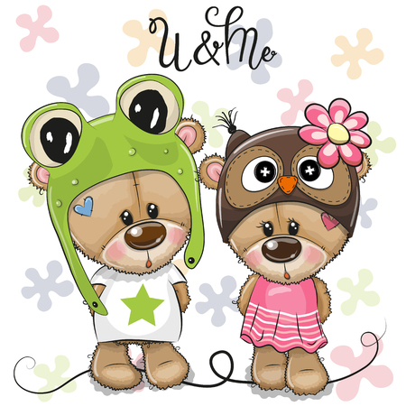 Greeting card Cartoon Bears boy and girl on a flowers background Vetores