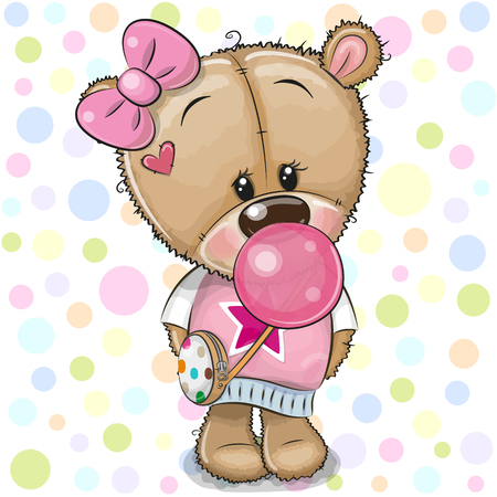 Cute Cartoon Teddy Bear girl in a pink bow with bubble gum Çizim
