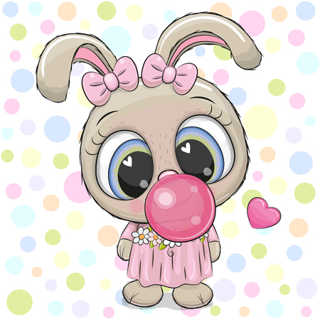 Cute Cartoon Rabbit in a pink bows with bubble gum