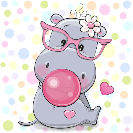 Cute Cartoon hippo in a pink glasses with bubble gum