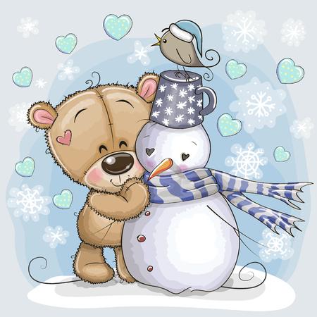 Lindo oso de peluche de dibujos animados y un muñeco de nieve Ilustración de vector