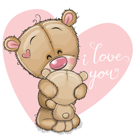 Cute Cartoon mother bear is hugging baby bear Çizim