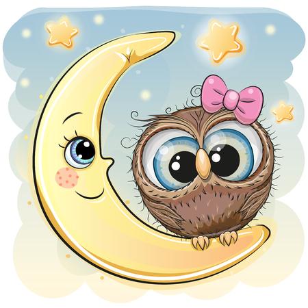 Cute Cartoon Owl girl is sitting on the moon