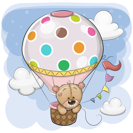 Cute Cartoon Teddy Bear is flying on a hot air balloon