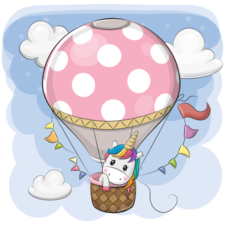 Cute Cartoon Unicorn is flying on a hot air balloon