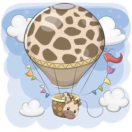 Cute Cartoon Giraffe is flying on a hot air balloon