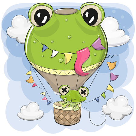 Cute Cartoon Frog is flying on a hot air balloon Ilustração