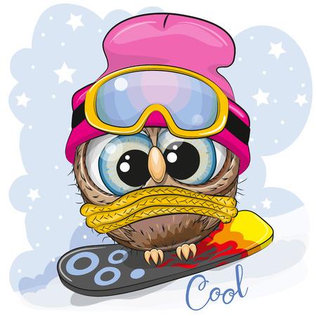 Simpatico cartone animato Owl Girl su uno snowboard su sfondo blu Vettoriali