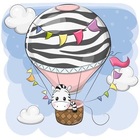 Cute Cartoon Zebra is flying on a hot air balloon