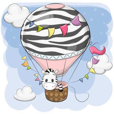Cute Cartoon Zebra sta volando su una mongolfiera